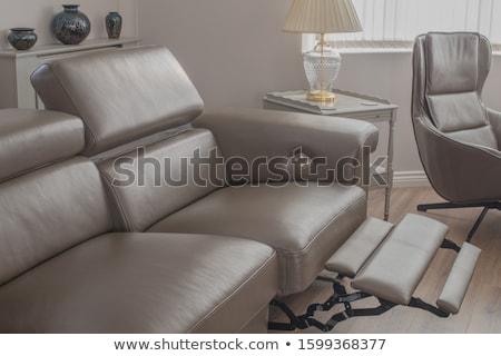 Verstelbaar fauteuil beige geïsoleerd witte Stockfoto © angelp