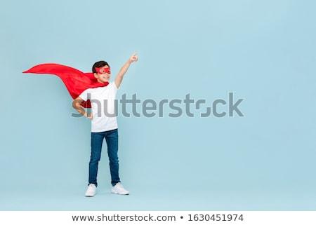 Stockfoto: Jongen · Rood · masker · veren · witte · partij