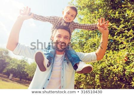 Apa fia kötődés kint boldog apa tanul Stock fotó © photography33