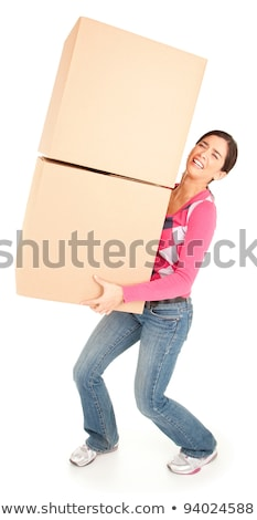 Woman struggling to carry boxes Stock photo © photography33
