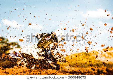 泥 背面図 モトクロス 汚れ 空 青 ストックフォト © Sportlibrary