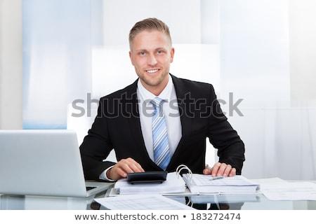 ストックフォト: ビジネスマン · デスク · 作業 · ノートパソコン · 肖像 · 銀行