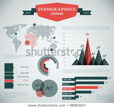teal and red vector retro vintage set of infographic elements stock photo © orson