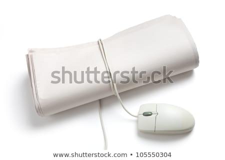 Stockfoto: Computermuis · krant · rollen · witte · nieuws · communicatie