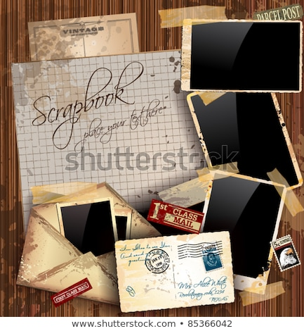 Vintage scrapbook composition with old style distressed postage design Stock photo © DavidArts