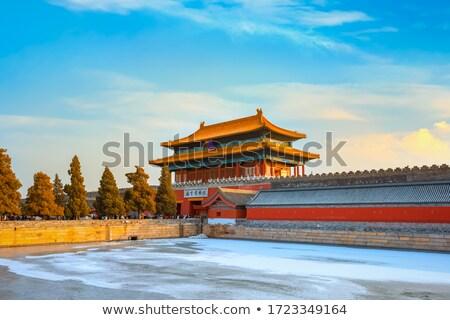 nostálgico · chinês · antigo · edifício · porta · parede - foto stock © raywoo