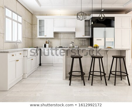 Black stove modern new countertop. Stock photo © iriana88w