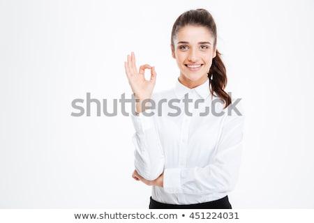 вызывать · знак · женщину · стороны · изолированный · белый - Сток-фото © wavebreak_media