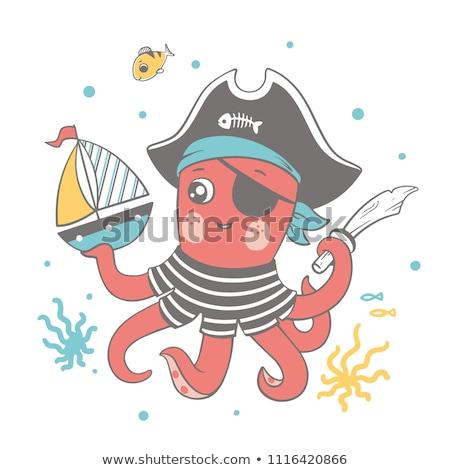 Bonitinho pequeno bebê marinheiro moda jogar Foto stock © juniart