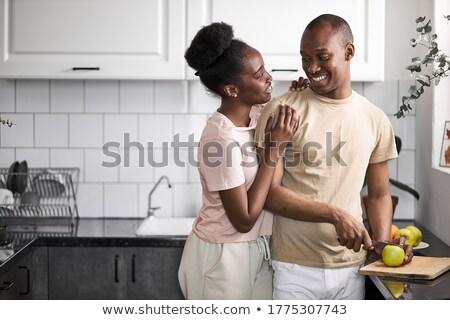 çekici · kadın · içme · çanak · kahve · mutfak · mutlu - stok fotoğraf © wavebreak_media