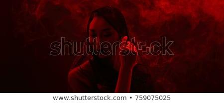 misterioso · asiático · mulher · belo · morena · cara - foto stock © zdenkam