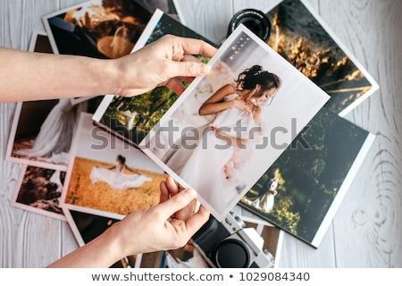 Albüm düğün geometrik kâğıt hüzün kalp Stok fotoğraf © marimorena