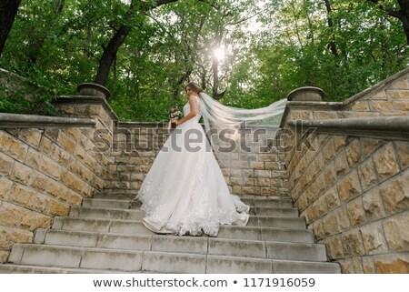 mariée · étapes · joli · marche · up · robe · de · mariée - photo stock © gemphoto