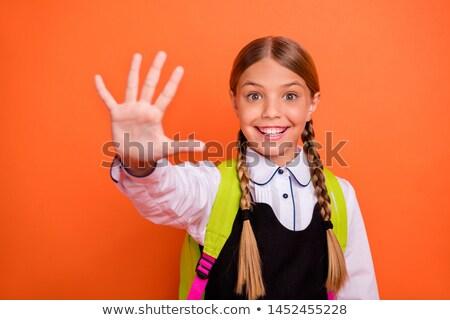 Stok fotoğraf: Genç · kadın · parmak · yanlış · gülümseme · mavi