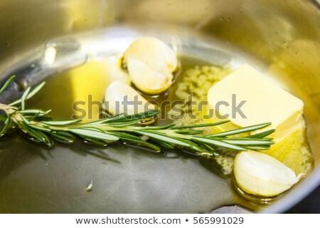 чеснока гвоздика сковорода древесины разделочная доска Сток-фото © Goldcoinz
