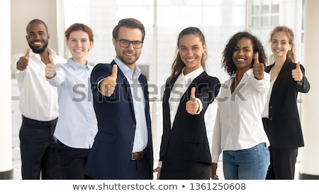 Boldog üzletasszony hüvelykujj felfelé kézmozdulat portré Stock fotó © williv