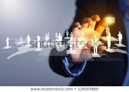 икона деловой человек прикасаться Мир карта Сток-фото © matteobragaglio