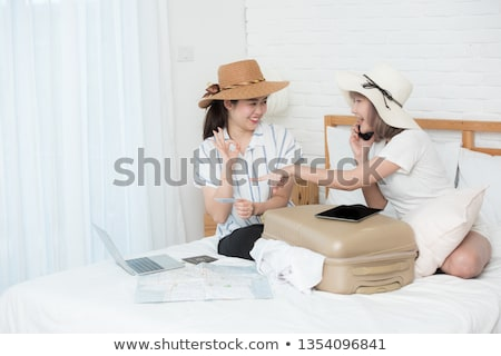two attractive young girls women on shopping tour Stock photo © juniart