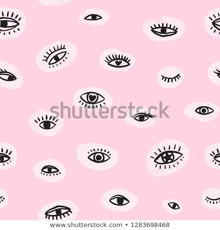 Stock fotó: Illusztráció · gyönyörű · rózsaszín · szem · fehér · divat