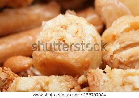 macro shot of a tasty arabian desert baklava is a rich sweet stock photo © dacasdo