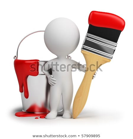 3d small people with a brush and a bucket of paint stock photo © anatolym