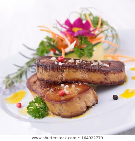 cooked foie gras with flowers stock photo © m-studio