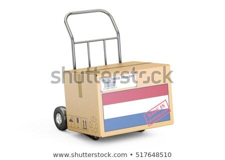Nederland hand vrachtwagen vlag leuze Stockfoto © tashatuvango
