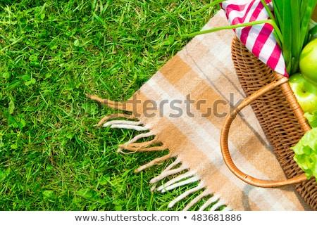 Stock photo: Springtop bottle and picnic basket