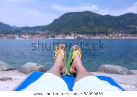 шезлонг · белый · изолированный · полосатый · древесины · солнце - Сток-фото © devon