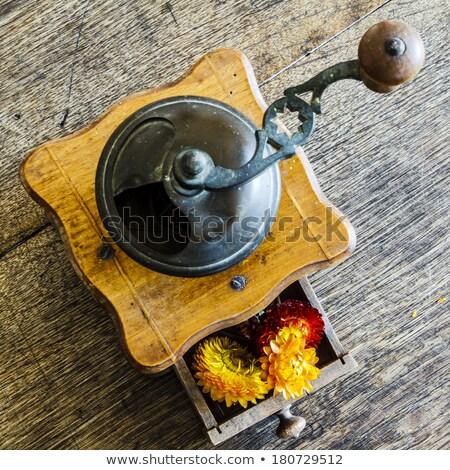 edad · café · molino · flores · taza · vintage - foto stock © jarin13