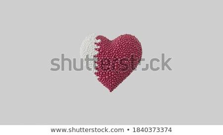 a · forma · di · cuore · rosso · nastri · isolato · bianco · alto - foto d'archivio © silense