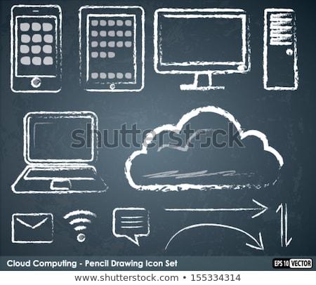 Krijttekening wifi Blackboard internet frame zwarte Stockfoto © bbbar