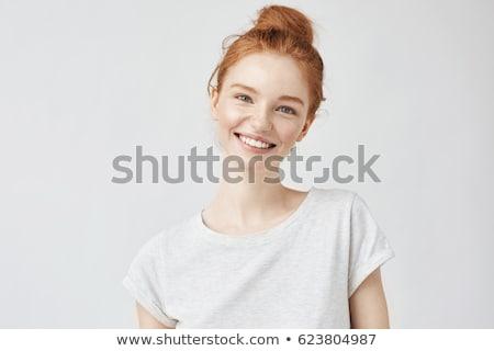 portret · nieśmiała · cute · młoda · kobieta · blond · włosy · biały - zdjęcia stock © meinzahn