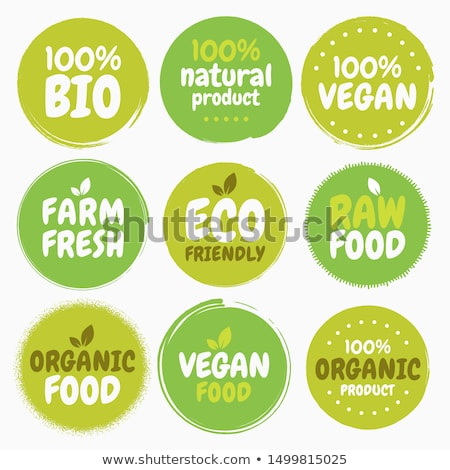 set of eco bio icons stickers and tags stock photo © lota