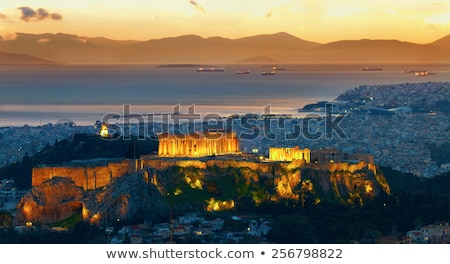 Foto stock: Panorama · Atenas · Acrópole · noite · pôr · do · sol · Grécia
