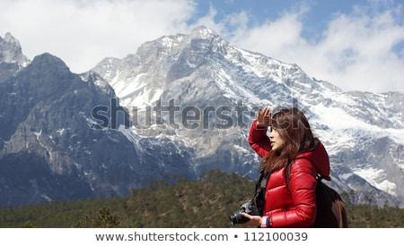 chinese · asian · meisje · model · sneeuw · berg - stockfoto © lewistse