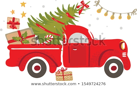 Vector illustration of red truck. Lorry Stock photo © leonido