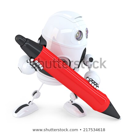 robot with pen isolated on white contains clipping path stock photo © kirill_m