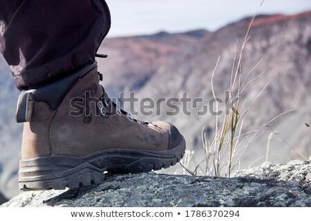 kadın · kenar · uçurum · olgun · kadın · oturma · manzaralı - stok fotoğraf © nejron