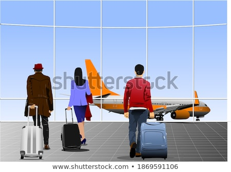 Aeroporto cena homem luz silhueta tráfego Foto stock © leonido