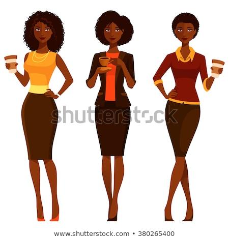 African american donna bevanda calda inverno vestiti Foto d'archivio © HASLOO