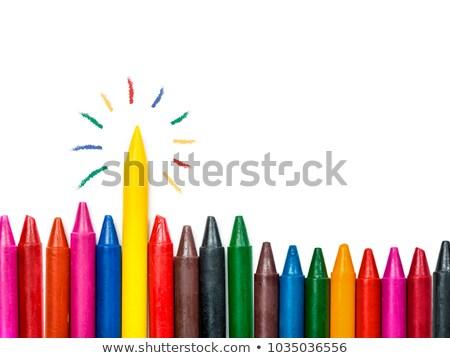 Zsírkréták szín papír iskola ceruza narancs Stock fotó © mady70