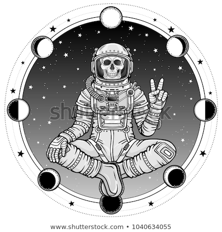Skeletons. T-shirt. Meditacion. Man Stock photo © samorodinov