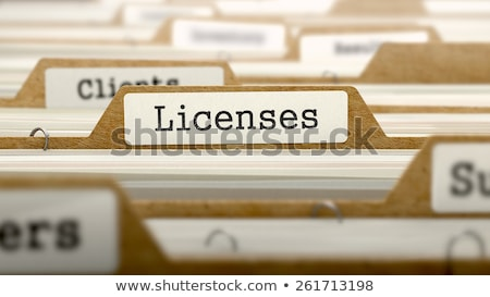 Сток-фото: Licenses Concept With Word On Folder