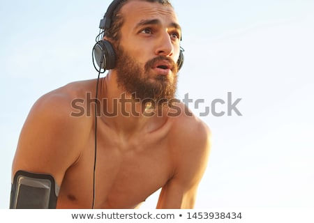 Stockfoto: Man · training · strand · zonsondergang