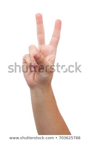 Férfi béke felirat kézmozdulat portré túlsúlyos Stock fotó © ozgur
