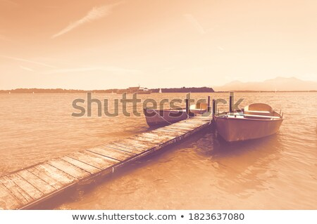 wooden pier on lake   vintage retro style stock photo © mikko