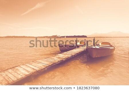 Fából készült móló tó klasszikus retró stílus gyönyörű Stock fotó © Mikko