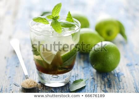 Taze mojito tablo arka plan içmek kokteyl Stok fotoğraf © wjarek