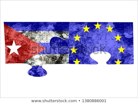 Avrupa sendika Küba bayraklar bilmece yalıtılmış Stok fotoğraf © Istanbul2009